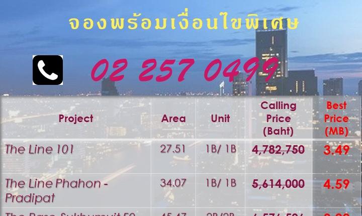 👍👍คอนโดพร้อมเสิร์ฟ!!!👍👍 ลดมากกว่า 1.X ล้าน ใกล้รถไฟฟ้า BTS / MRT จองพร้อมเงื่อนไขพิเศษ โทร. 02 257 0499